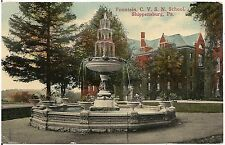 The Fountain at C.V.S.N. School in Shippensburg PA Postcard 1914