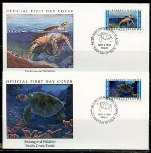 MARSHALL ISLANDS 1990 ENDANGERED SPECIES TURTLES  ON  4  FIRST DAY COVERS