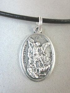 """St Michael the Archangel Medal Italy Pendant Necklace 17"""" - 19"""" Black Cord"""