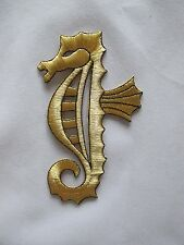 "#3374 5""H Gold,Black Sea Horse Embroidery Iron On Applique Patch"