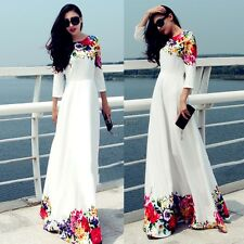 Women Chiffon Floral Long Sleeve Party Evening Cocktail Long Maxi Dress Sundress