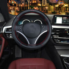 Car Real Leather Steering Wheel Cover With Needles & Thread DIY Black And Red