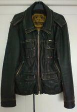 Superdry Leather Jacket XL Brown distressed  MLA-1001 Brad super dry
