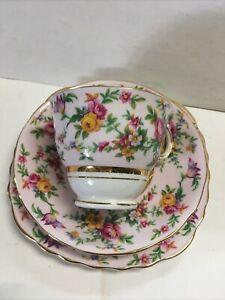 Pretty Pink Floral Colclough Trio Bone China England
