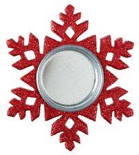 Weihnachtsdekoration Teelichthalter Schneeflocke rot glitzer aus Holz 10 cm groß