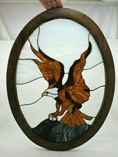 "26"" x 18"" Bald American Eagle Large Handcrafted Stained Glass Window Panel  Oval"