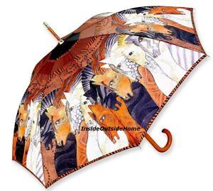 Laurel Burch STICK Umbrella Moroccan Mares Auto Open Close Lg Canopy New