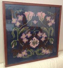 Vintage Framed Wool Tapestry Needlepoint - Spring Fantasy