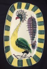 Rare Denmark Royal Copenhagen Fajance Peacock Bird Pottery Platter Signed BA