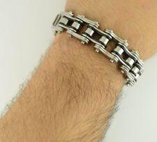 "Heavy Metal Silver Black Biker Chain Bracelet 316 Stainless 3/4 "" Wide 9"" Length"