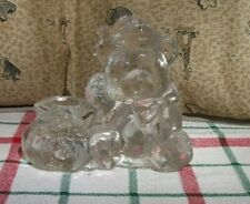 "4"" x 5"" Clear Glass Christmas Teddy Bear w/Bag Candle Holder"
