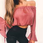 Women's Sexy Chiffon Flare Sleeve Tops Off Shoulder Shirt Casual T-Shirt Blouse
