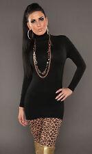 Viscose Polo Neck/Roll Neck Mini Jumper Dresses