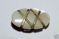 WOW Nice Vintage 1940s White Golden Mother of Pearl Golden Tie Bar Clip RARE