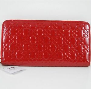 COACH Chelsea Embossed Patent Accordion Leather Zip Around Clutch Wallet NEW