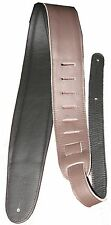 "3.5"" Wide Deluxe Internally Padded Brown Italian Garment Leather Guitar Strap"