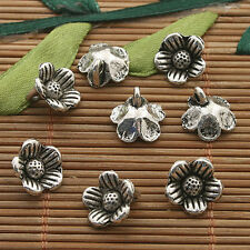 30pcs dark silver tone plum flower charms h3338