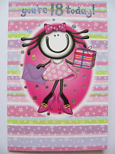 CARDS & PRESENTS YOURE 18 TODAY WONDERFUL COLOURFUL BIRTHDAY GREETING CARD