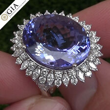 19.02 Carat Natural Tanzanite and Diamond Gold Ring GIA Certified 14K Size 7