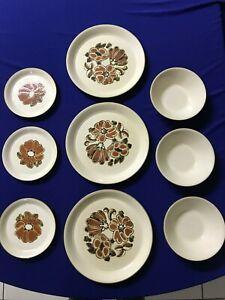9 Piece Dinner Plate Saucer Bowl England Floral Kiln Craft England Ironstone