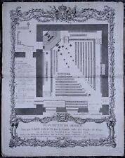 1756 Martinet Gravure originale 18e Plan du Lit de Justice 20 Septembre Louis XV