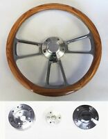 "Oak Wood & Billet Steering Wheel Fits Ididit Flaming River Column 14"" Bowtie Cap"