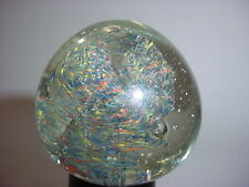 Vintage Art Glass Bubble Outer Space Dust Swirl Paperweight
