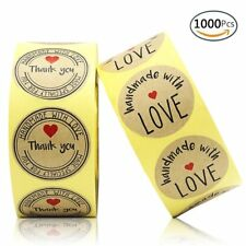 """1000pcs Round Kraft Paper ''Love'' Stickers Adhesive ''Thank you'' Labels 1.4"""""""