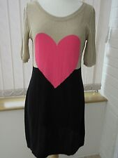 *Moschino Cheap and Chic*black & sparkly gold knitted dress with pink heart (12)