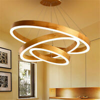 LED Wooden Ring Chandelier Pendant Light Lamp Ceiling Fixture Home Round Shape