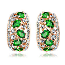 18k rose Gold plated with Swarovski crystals filigree huggie green earrings