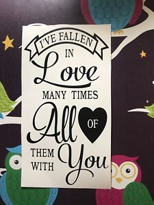 I've Fallen In Love Many Times AllWith You Wine Bottle Vinyl  Decal - Valentines