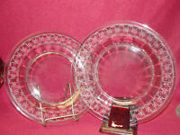 "Two (2) FOSTORIA Etched Crystal - SPARTAN Clear Pattern - 8"" PLATES"