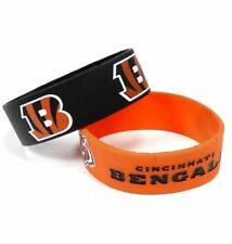 Cincinnati Bengals Silicone Bracelet 2 Pack 2 Colors Wide Band **Brand New**