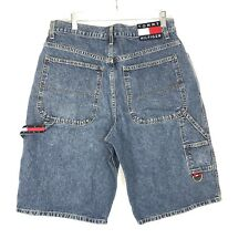 Tommy Hilfiger Carpenter Denim Shorts Mens 34 Tommy Jeans Patch Spell Out D Ring
