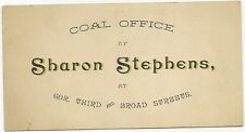 Vintage Antique Advertising Card- Sharon Stephens Coal- Harrisburg, PA
