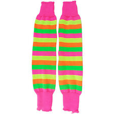 NEW WOMEN LADIES MULTI FLORESCENT STRIPED LEG WARMERS FANCY DRESS DANCE PARTY
