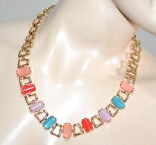 COLLAR mujer oro gargantilla elegante piedras de colores ceremonia ожерелье G4