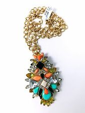 "Joan Rivers Crystal Melange Pendant 30"" Chain Necklace Gold Multi Color Jewelry"
