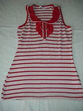 New look girls beige and red stripe summer sleeveless vest top 12-13 years