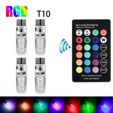 4Pcs T10 6SMD 5050 RGB Colorful Car Lights LED Bulbs w/ Remote Control √* RT