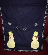 Snowman Wool Blue Table Runner