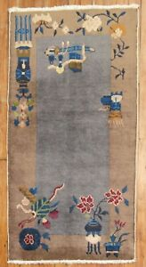 Antique Chinese Art Deco Rug Size 2'1''X4'