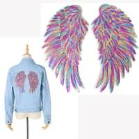 2pcs Fancy Rainbow Angel Wings Sequins Iron On Sewing Patches Embroidered Badges