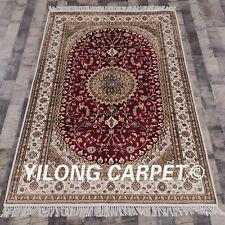 YILONG 4'x6' Red Medallion Handmade Classic Silk Carpet Kashmir Area Rug Y286C
