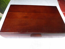 Vintage Wood Silverware Flatware Storage Chest Box  red interior #1