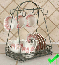 Vintage French Country Wire Dish Rack Tea Cup Hook metal basket Storage Caddy