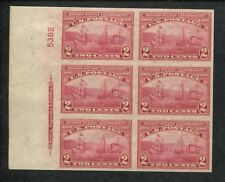 1909 USA Half Moon Ship & Clermont Steamship Postage Stamp #373 Plate Block of 6
