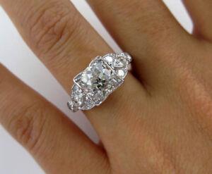 5Ct Round Cut Diamond Milgrain Antique Vintage Estate Ring 14K White Gold Finish