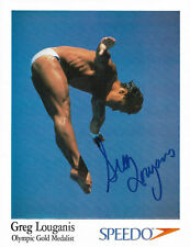 GREG LOUGANIS HAND SIGNED AUTOGRAPHED 8.5X11 SPEEDO OLYMPIC PHOTO WITH COA